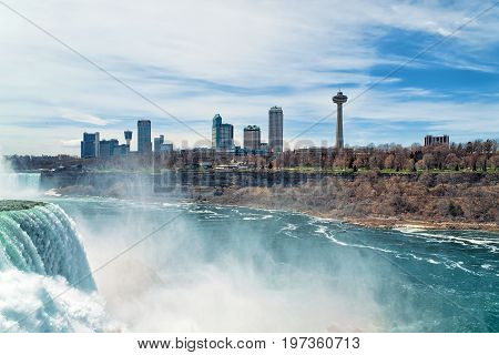 Niagara Falls And American Early Spring
