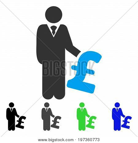Pound Investor flat vector illustration. Colored pound investor gray, black, blue, green icon versions. Flat icon style for web design.