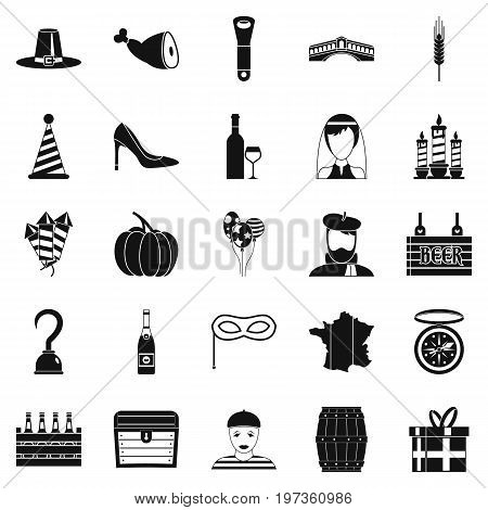 Appetizer icons set. Simple set of 25 appetizer icons for web isolated on white background