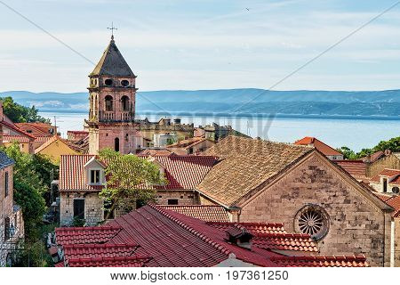 Church Tower And Roofs Of Buildings Old City Omis Croatia