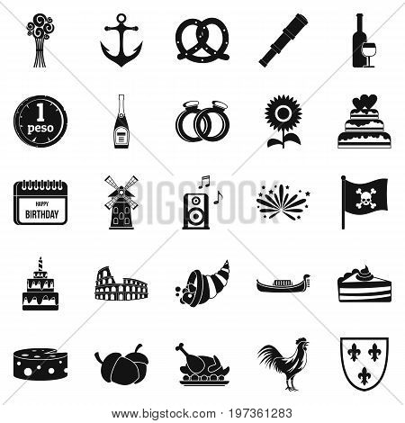 Snacks icons set. Simple set of 25 snacks icons for web isolated on white background