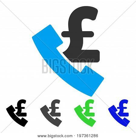 Pound Payphone flat vector pictogram. Colored pound payphone gray, black, blue, green icon variants. Flat icon style for application design.