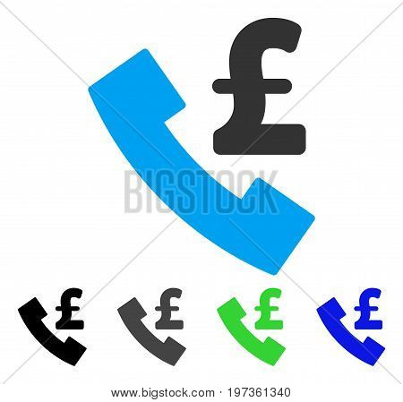 Pound Payphone flat vector pictogram. Colored pound payphone gray, black, blue, green pictogram variants. Flat icon style for application design.