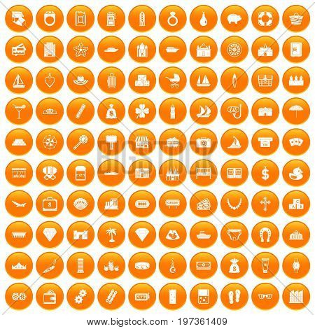 100 wealth icons set in orange circle isolated on white vector illustration