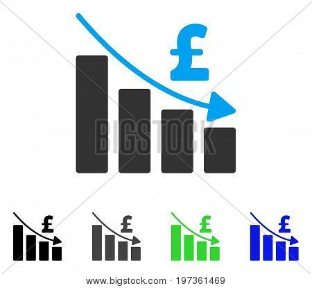 Pound Recession Bar Chart flat vector illustration. Colored pound recession bar chart gray, black, blue, green pictogram variants. Flat icon style for application design.