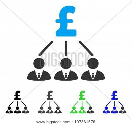 Pound Shareholders flat vector illustration. Colored pound shareholders gray, black, blue, green pictogram variants. Flat icon style for web design.