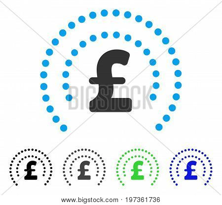 Pound Sphere Shield flat vector illustration. Colored pound sphere shield gray, black, blue, green icon variants. Flat icon style for web design.