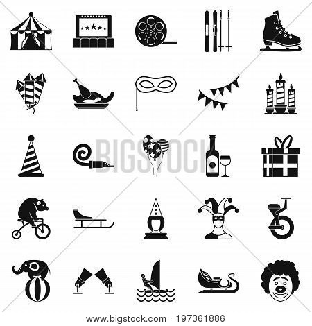 Performance of clowns icons set. Simple set of 25 performance of clowns icons for web isolated on white background