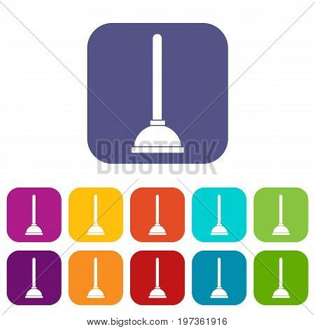 Toilet plunger icons set vector illustration in flat style in colors red, blue, green, and other