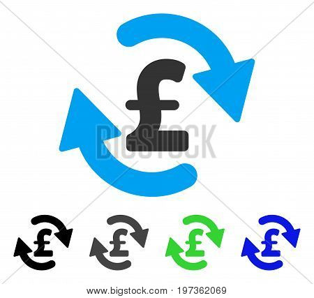 Refresh Pound Balance flat vector pictogram. Colored refresh pound balance gray, black, blue, green pictogram versions. Flat icon style for web design.