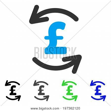 Refresh Pound Balance flat vector pictogram. Colored refresh pound balance gray, black, blue, green icon versions. Flat icon style for graphic design.