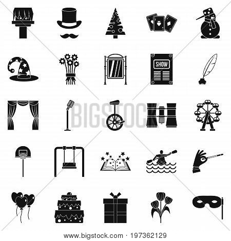 Magic performance icons set. Simple set of 25 magic performance icons for web isolated on white background