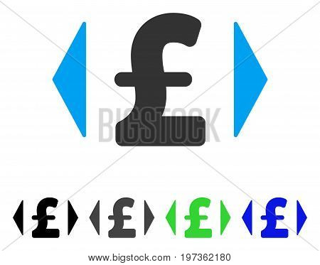 Regulate Pound Price flat vector illustration. Colored regulate pound price gray, black, blue, green pictogram versions. Flat icon style for application design.