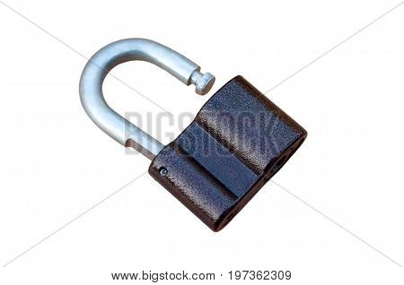a large padlock open on a white background