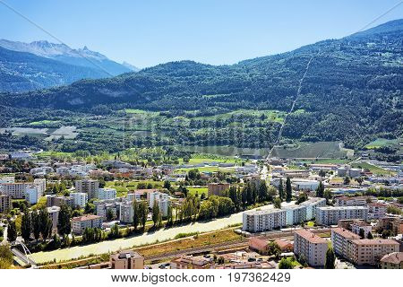 City In Sion With Rhone River Capital Valais Switzerland