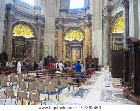 19.06.2017 Vatican City: Saint Paul's Cathedral interior with crowds of tourists inside