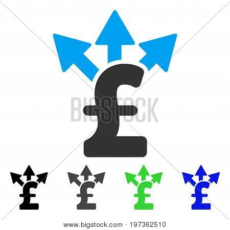 Split Pound Payment flat vector icon. Colored split pound payment gray, black, blue, green pictogram variants. Flat icon style for application design.