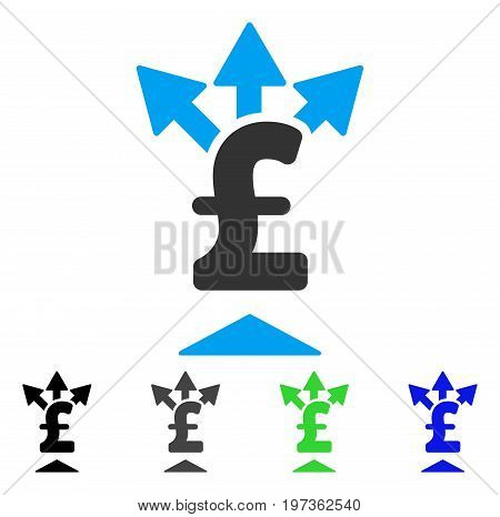 Split Pound Payment flat vector pictograph. Colored split pound payment gray, black, blue, green pictogram versions. Flat icon style for web design.