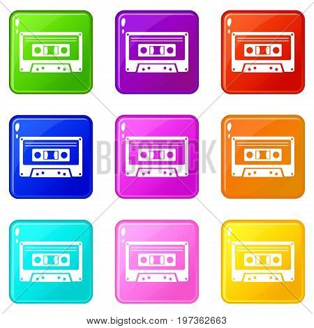 Cassette tape icons of 9 color set isolated vector illustration