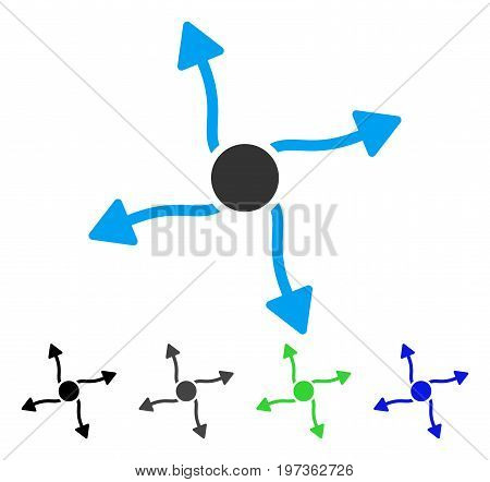 Curve Arrows flat vector pictograph. Colored curve arrows gray, black, blue, green pictogram variants. Flat icon style for application design.
