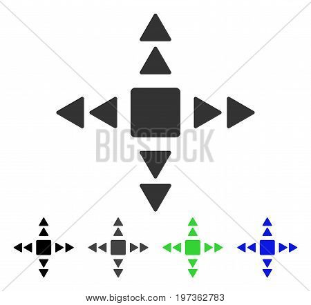 Direction Triangles flat vector pictogram. Colored direction triangles gray, black, blue, green icon variants. Flat icon style for application design.