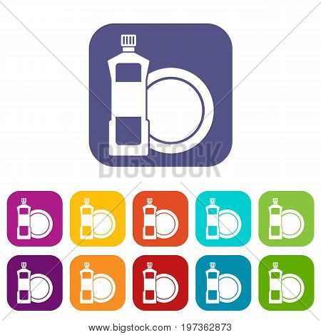 Dishwashing liquid detergent and dish icons set vector illustration in flat style in colors red, blue, green, and other