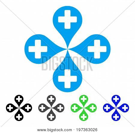 Hospital Map Markers flat vector icon. Colored hospital map markers gray, black, blue, green pictogram versions. Flat icon style for graphic design.