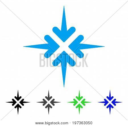 Impact Arrows flat vector pictograph. Colored impact arrows gray, black, blue, green pictogram versions. Flat icon style for graphic design.
