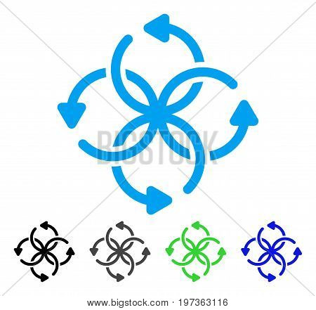 Knot Rotation flat vector illustration. Colored knot rotation gray, black, blue, green icon variants. Flat icon style for web design.