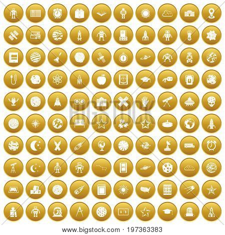 100 astronomy icons set in gold circle isolated on white vectr illustration