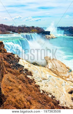 Wonderful Niagara Falls Usa Nature Early Springtime