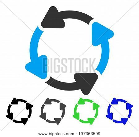 Rotate CW flat vector icon. Colored rotate cw gray, black, blue, green icon variants. Flat icon style for graphic design.