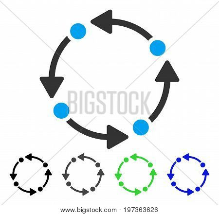 Rotate flat vector pictogram. Colored rotate gray, black, blue, green icon versions. Flat icon style for graphic design.