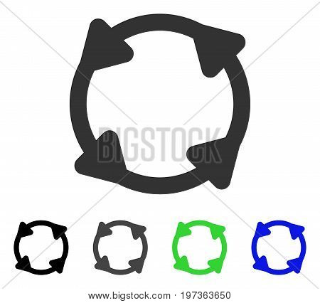 Rotate flat vector icon. Colored rotate gray, black, blue, green icon variants. Flat icon style for application design.