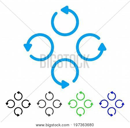 Rotation flat vector pictogram. Colored rotation gray, black, blue, green pictogram variants. Flat icon style for application design.