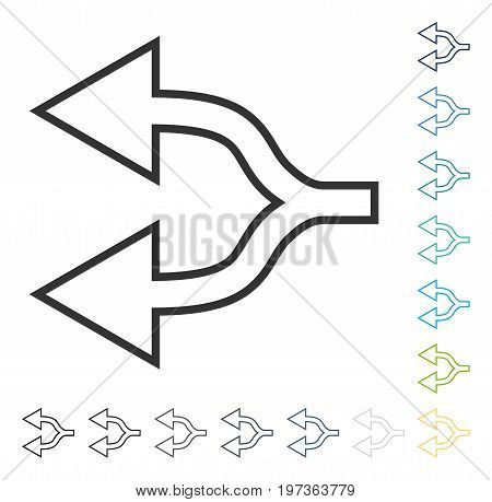 Junction Arrow Left icon. Vector illustration style is flat iconic symbol in some color versions.