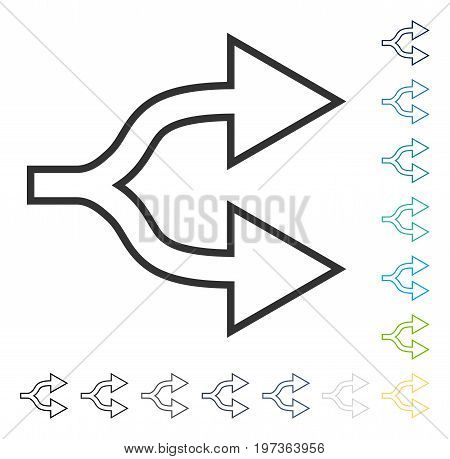 Junction Arrow Right icon. Vector illustration style is flat iconic symbol in some color versions.