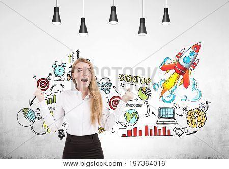 Happy Blonde Businesswoman, Startup, Concrete
