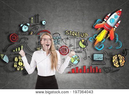 Happy Blonde Businesswoman, Startup, Blackboard
