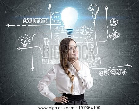 Pensive businesswoman wearing a white blouse and a black skirt is standing near a blackboard with a light bulb and a business scheme