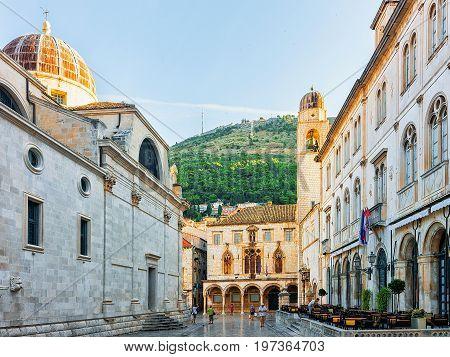 St Blaise Church And Belfry At Stradun Street Dubrovnik