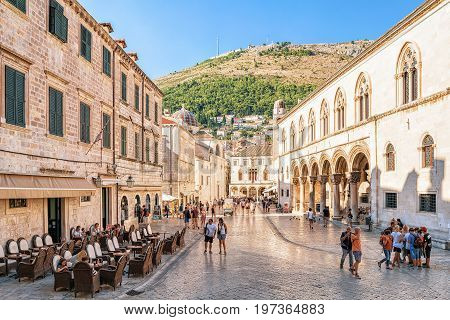 People At Rector Palace At Stradun Street In Dubrovnik