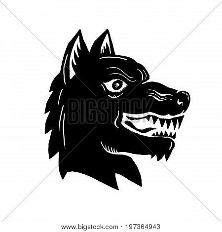 Illustration of an Angry Wolf wild dog Head Side view done in Woodcut style.