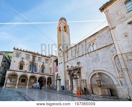 People At Belfry On Stradun Street In Old City Dubrovnik