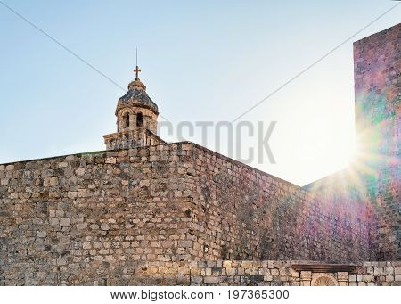 Steeple of Dominican Church in the Old city of Dubrovnik Croatia