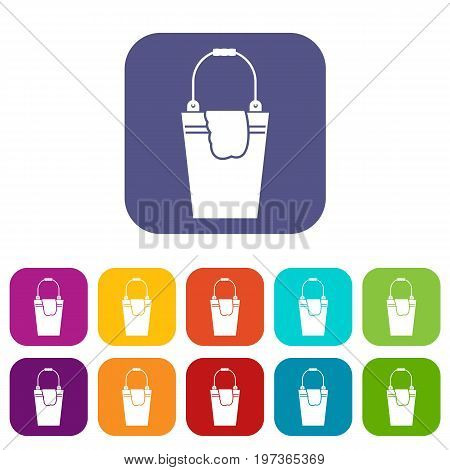 Bucket and rag icons set vector illustration in flat style in colors red, blue, green, and other