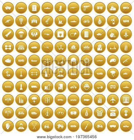 100 burden icons set in gold circle isolated on white vectr illustration