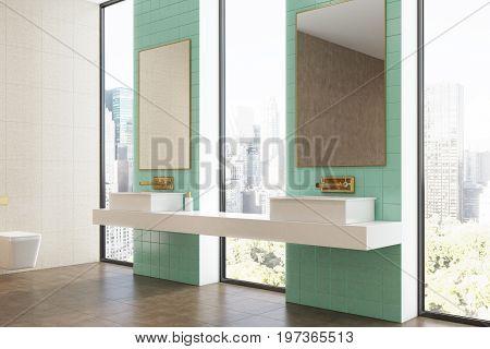 Green Bathroom, Double Sink, Side
