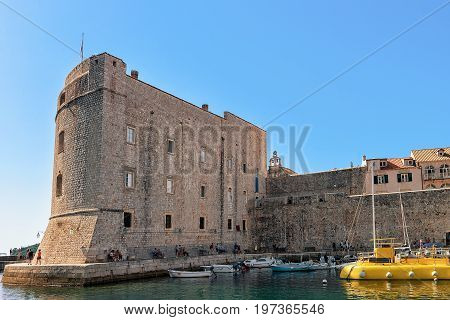 Saint John Fortress And Boats At Old Port In Dubrovnik