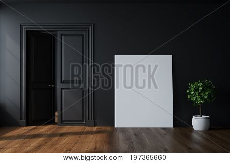 Empty Black Room With An Open Door, Poster